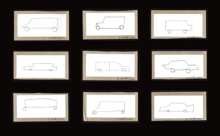 Kathleen White, Untitled, 2000, 9 car drawings on storybook paper, 2 x 4 in. each