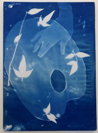 Kaye Donachie, Untitled, 2015, cyanotype print on cotton, 25 x 35 cm