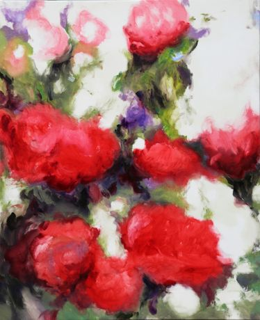 Gael Davrinche, Peonies, oil on canvas.
