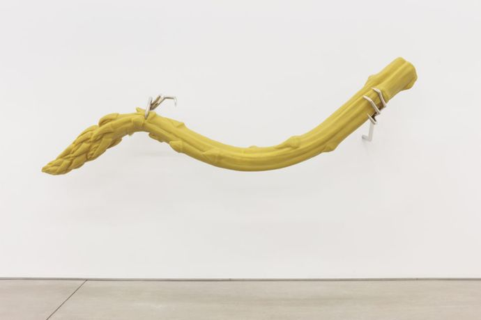Hannah Levy Untitled, 2018 Nickel plated steel, silicone, polyurethane 30 x 82 x 25 1/2 inches (77 x 208 x 65 cm)