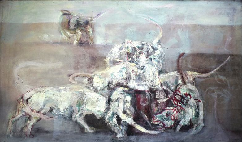 Keith Cunningham, Fighting Dogs, ca 1956-1960, oil on canvas, 182 x 122 cm. Image © of the artist, by courtesy of Keith Cunningham Estate. Photo: Sylvain Deleu