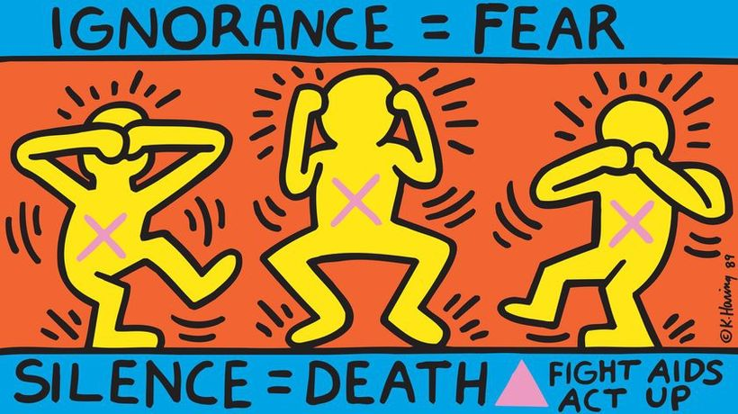 Keith Haring Ignorance = Fear 1989 © Keith Haring Foundation/ Collection Noirmontartproduction, Paris