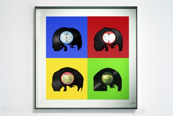 "Keith Haynes, The Beatles - Fab Four primary colours, Mixed media: Cut from original 12"" vinyl Beatles, Unique edition of 10 + 2 AP 80cm x 80cm, Perspex Box Case"