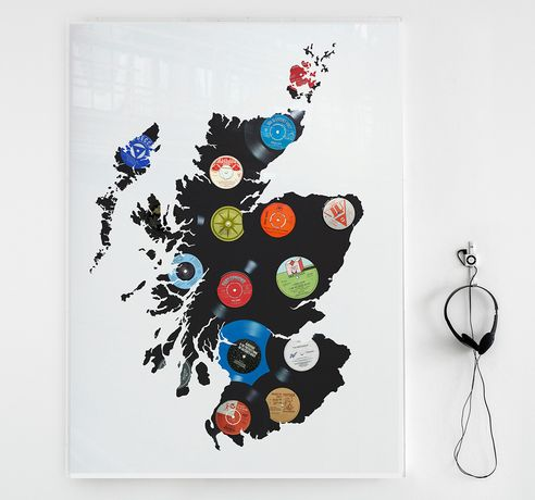 "Keith Haynes, HITSVILLE SCOTLAND, Original 7"" and 12""vinyl featuring song titles of Scotland by Scottish artists, edition of 10 + 2AP, 110cm x 80cm, Perspex Box Case"