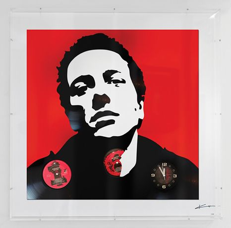 "Keith Haynes, JOE STRUMMER, 70 x 70cm, ed of 20, original 12"" Clash vinyl"