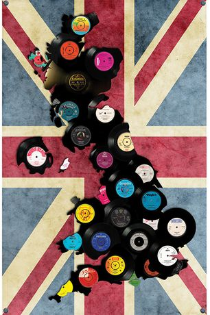 "Keith Haynes, HITSVILLE UK - Part of the Union, 7"" and 78 records featuring song titles of British Cities & Towns, Mixed media: vinyl singles on hand finished fabric flag, Unique edition of 10, 150cm x 100cm, Perspex Box Case"