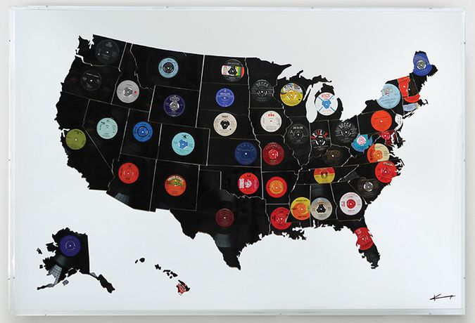 "Keith Haynes, HITSVILLE USA, 7"", 12"" and 78 records featuring 50 song titles Mixed media: original 12"" black vinyl of the 50 US States, Mixed media: original vinyl and shellac records Keith Haynes Keith Haynes HITSVILLE USA 52cm x 52cm Unique edition of 5 (Unique edition of 50) 185cm x 125cm Perspex Box Case"