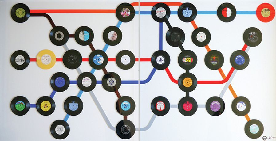 "Keith Haynes, Going Underground VII, Diptych 250cm x 125cm, PIMLICO to SEVEN SISTERS, 7"" Singles featuring song titles on the London Underground"