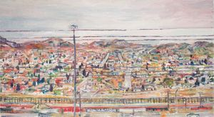 View of Border from El Paso, 2016, Keith Mayerson. My American Dream: Berlin Edition