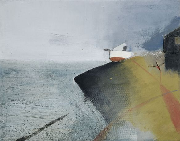 Keith Purser, Dungeness, 2007, oil & collage on board, 59.6 x 74.8cm