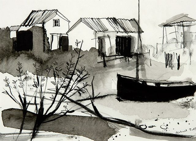 Brancaster Creek, Pen & Ink by Richard Tuff