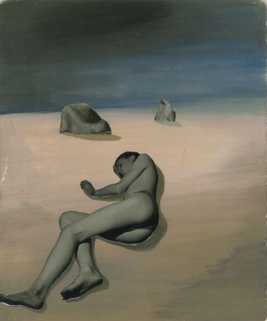 Figure Lying on Beach at Night, c1939, Gouache and photography on Card