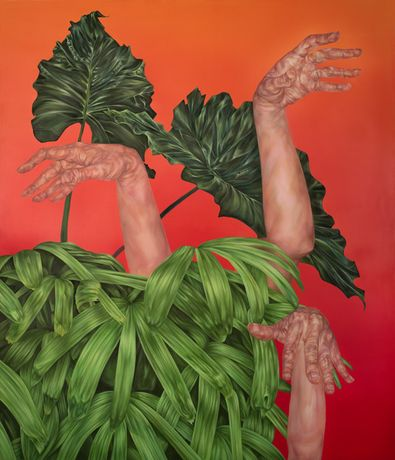 Kelli Thompson, Hands and Plants 1, 42x36, oil on panel, 2016
