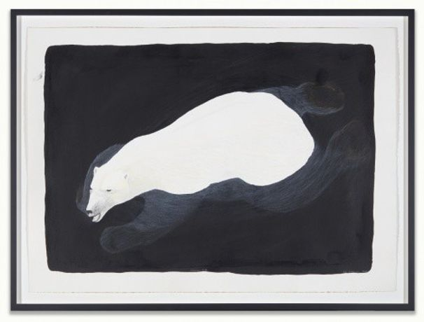 Tim Pitziulak. Swimming Bear, 2016. India Ink and coloured pencil on paper, 74.9 x 105.4 cm. Purchase, 2017. © Estate of Tim Pitsiulak.