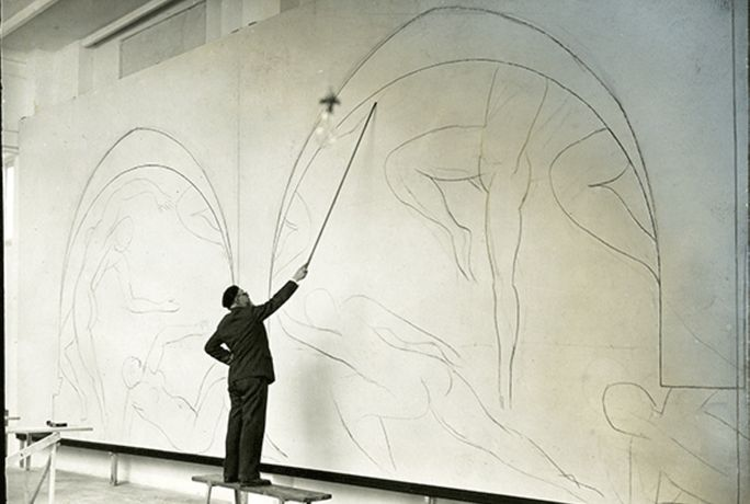 Matisse sketching The Dance, The Barnes Collection, 1931.