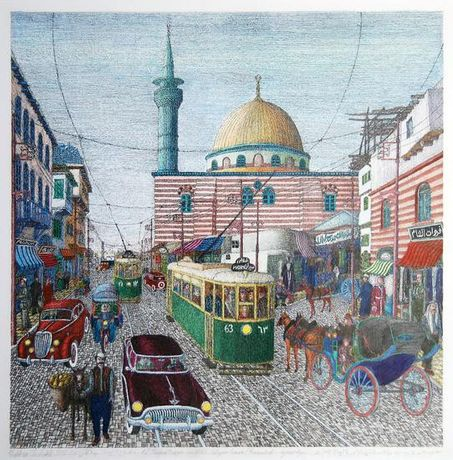 Khaldoun Chichakli, Al Sananeah mosque and al Sabagin bazaar (Farwateah) in past days, 2007, water color on paper, 36 x 35.7 cm