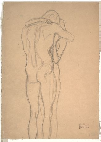 Gustav Klimt, Embracing Couple (Study for 'This Kiss to the Entire World', 'Beethoven Frieze'), 1901.