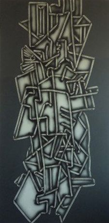 Christina Niederberger, Laced Cubism 168 x 85 oil and acrillic on canvas