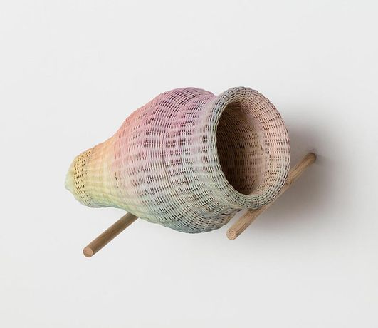 'Untitled (Shaanxi)', 2015, Rattan, jade, chewing gum, watercolour, 37 x 18 x 18 cm