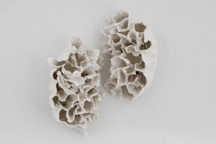 Renqian Yang, Clustered Light, 2018. Paper clay, fire to cone 6, electric kiln, 11 x 7 x 5 inches each ©Renqian Yang, courtesy Fou Gallery