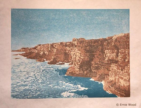 Ernie Wood - Boca do Inferno - Wood and Linoleum Reduction Relief Print - 12 Inches x 16 Inches - All Rights Reserved