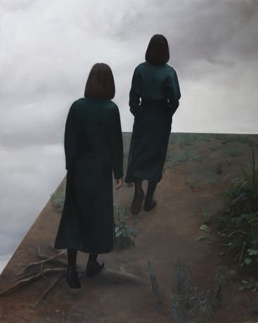 Ruozhe Xue, The Mirroring Conversation, 2016, oil on canvas,185x155cm