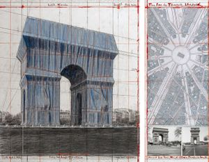 "Christo  The Arc de Triumph, Wrapped, Project for Paris, Place de l'Etoile, Charles de Gaulle  Collage 2018 in two parts  30 1/2 x 26 1/4"" and 30 1/2 x 12 (77.5 x 66.7 cm and 77.5 x 30.5 cm)  Pencil, charcoal, wax crayon, fabric, twine, enamel paint, photograph by Wolfgang Volz, hand-drawn map and tape  Photo: André Grossmann  © 2018 Christo"