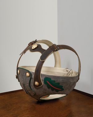 Lars Fisk, Lederhosenball, 2019, leather, suede, stag horn, steel, 28 x 18 x 18 in., 71.1 x 45.7 x 45.7 cm. Photo Adam Pape