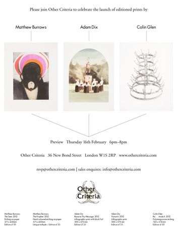 LAUNCH: Editioned prints by Matthew Burrows, Adam Dix and Colin Glen: Image 0