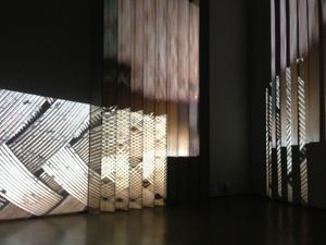 Laura Buckley, The Magic Know How, 2013, wood, mirror, perspex, steel, multi channel video installation, Site Gallery, Sheffield