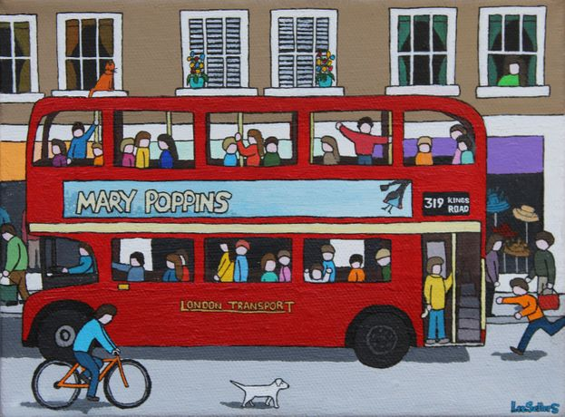 Lee Sellers, London Bus, acrylic & ink on canvas
