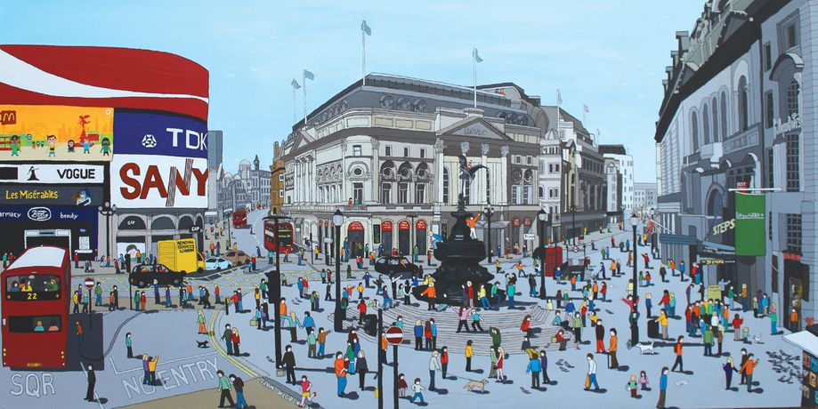 Lee Sellers, Piccadilly Circus, acrylic & ink on canvas