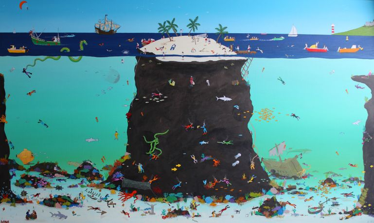 Lee Sellers, Stan's Underwater World, acrylic & ink on canvas