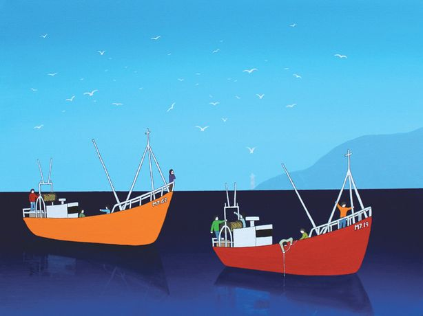 Lee Sellers, Two Fishing Boats, acrylic & ink on canvas