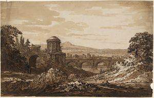 Richard Cooper Jr, Italian Landscape with Bridge, pen and brown ink with brown wash, UCL Art Museum 3751