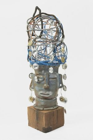 Leilah Babirye, Nabyayi o'we Nte (Kuchu Cow Clan), 2020, Glazed ceramic, wood, metal, wire, found objects, 53 x 16 x 14 inches