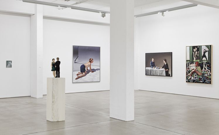 G2 installation view with artworks by Peter Busch, Stephan Balkenhol, Hans Aichinger (2x) and Rosa Loy. photo by Dotgain.info © G2 Kunsthalle, Leipzig . Courtesy of the artists