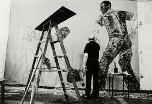 Leon Golub working in his studio Photograph © Jack Jaffe and Kartemquin Films.