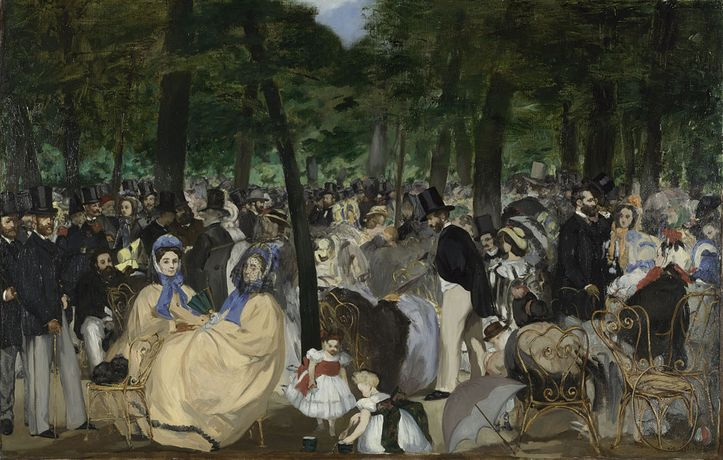 Manet, Edouard Manet, Music in the Tuileries Gardens, 1862. The National Gallery, London.