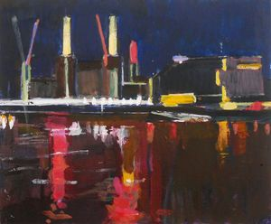 Daniel Preece ' Power Stations At Night II ' acrylic on board
