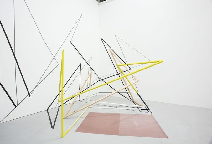 Andrea V. Wright, Vertical Ascension, 2016, steel, wood, paint, tape, rubber