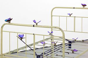 REBECCA HORN, The Lover´s Bed, 1990, iron bed frame, butterfly wings, metal constructions, motors 116 x 191 x 121 cm | 45 2/3 x 75 1/4 x 47 2/3 in