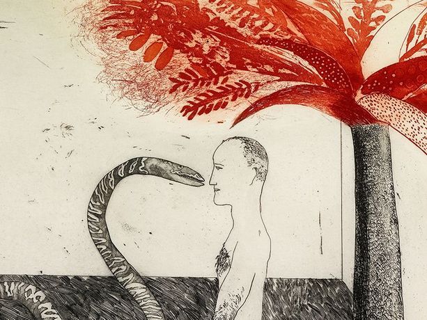 David Hockney (b. 1937) Jungle Boy, 1964 Etching and aquatint in black and red on mould-made paper © David Hockney Photo Credit: Richard Schmidt