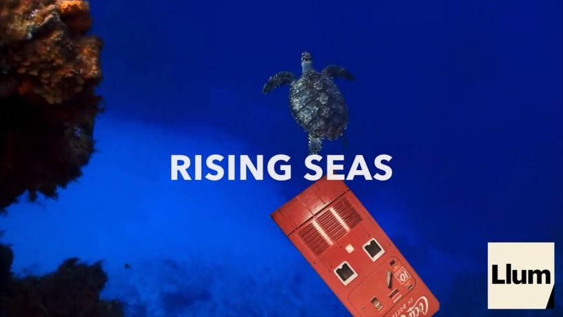 Projection of Rising Seas at Manifest Destiny Art during LLUM BCN Festival