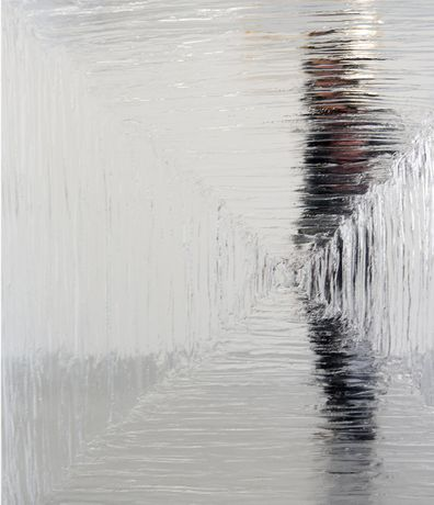 Sali Muller,  Crystal Clear, 2017, Mirror, Crystal clear silicone, 150x150 cm (detail)