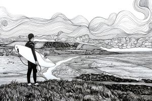 Local hand drawn black and white images of Croyde Bay by Russell Scott-Skinner