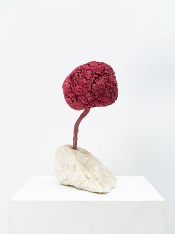 Yves Klein. Untitled Pink Sponge Sculpture (SE 204), 1959. Dry pigment and synthetic resin on natural sponge, metal stem, and stone base, 15 1/4 inches (38.5 cm) high. © 2018 Artists Rights Society (ARS), New York / ADAGP, Paris. Photo: Tom Powel Imaging.