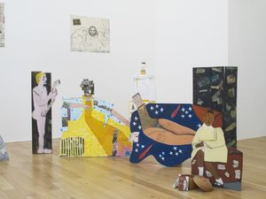 Lubaina Himid, A Fashionable Marriage, 1986 [detail]. Multimedia installation, ca 4 x 7 metres. Courtesy of the artist and Hollybush Gardens, London. Installation view, The Place is Here, Nottingham Contemporary, 2017.
