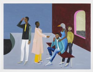 Lubaina Himid, Le Rodeur: The Exchange, 2016. Acrylic on canvas, 72 × 96 in (183 × 244 cm). Courtesy the artist and Hollybush Gardens. Photo: Andy Keate