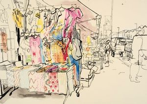 Lucinda Rogers: On Gentrification. Drawings from Ridley Road Market